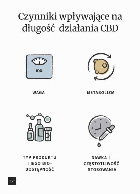 Czynniki wpływające na długość działania CBD - waga, metabolizm, typ produktu i jego biodostępność, dawka i częstotliwość stosowania