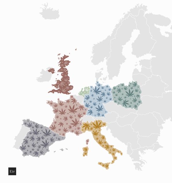 Europa hat die meiste Erfahrung mit dem Anbau von Hanf, der in Großbritannien, Frankreich, den Niederlanden, Deutschland, Spanien, Polen und Italien - der Landkarte
